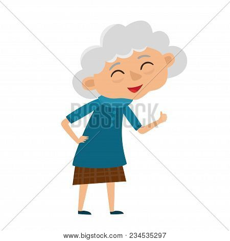 Happy Senior Lady With Silver Hair Gesturing Ok Sign. Cartoon Old Age Woman Isolated On White Backgr