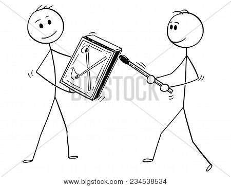 Cartoon Stick Man Drawing Conceptual Illustration Of Two Businessman Striking A Match. Business Conc