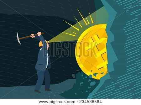 Concept Of Cryptocurrency. Businessman Mining To Find Bitcoins And Earning Cryptocurrency. Flat Desi
