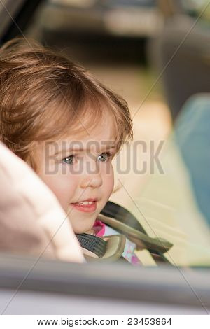 Girl Kid Close-up Over A Window Pane