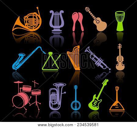 Silhouettes Of Various Musical Instruments. Vector Illustration.flat Illustration
