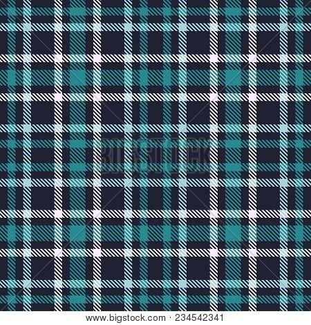 Green Blue Tartan Seamless Vector Pattern. Checkered Plaid Texture. Geometrical Simple Square Backgr