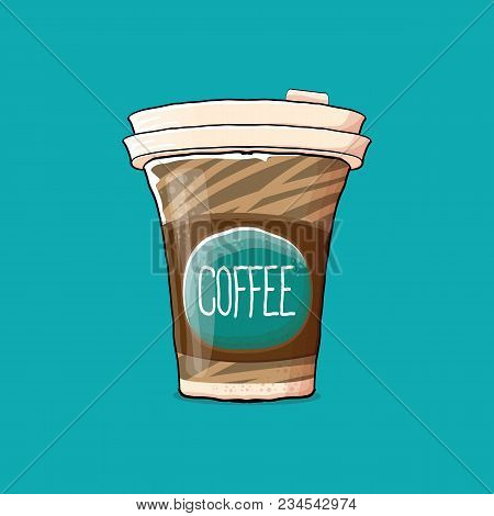 Coffee Cup Isolated On Turquoise Background . Vector Coffee Paper Color Cup With Hot Coffee And Colo