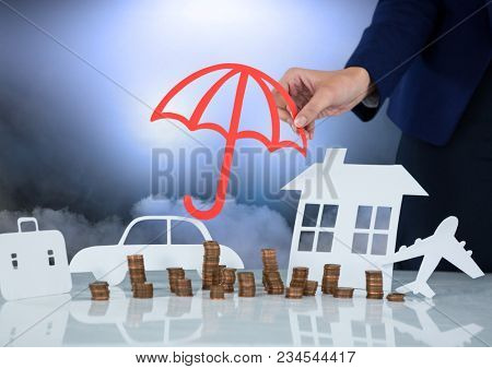 Cut outs with woman holding umbrella protection