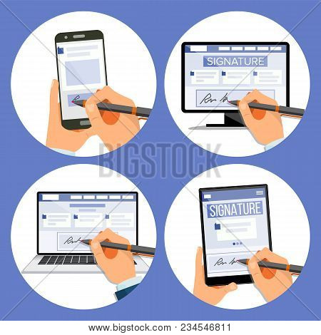 Electronic Signature Set Vector. Internet Document. Electronic Contract. Computer. Businessman Hands