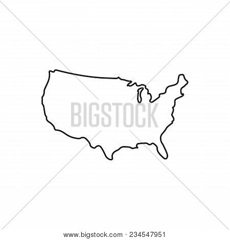 Usa Map Icon. Outline Usa Map Vector Icon For Web Design Isolated On White Background