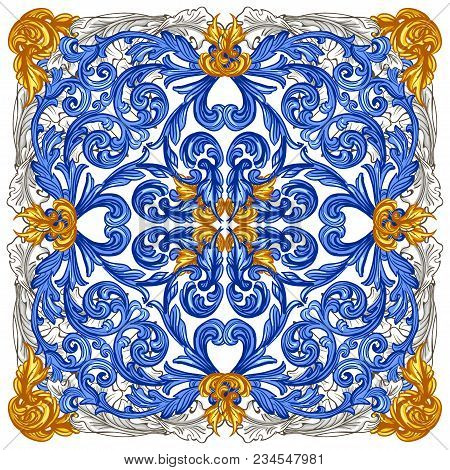 Azulejos Portuguese Dutch Tile In Shades Of Blue And Yellow Colors Pattern. Baroque Tiles. Vector Ba