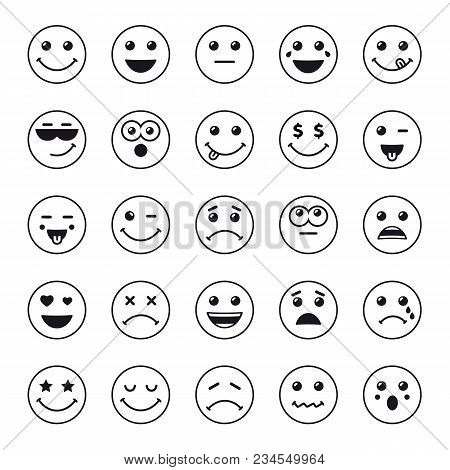 Set Of Line Art Round Emoticons Or Emoji Icons Black. Smile Icons Vector Illustration Isolated On Wh