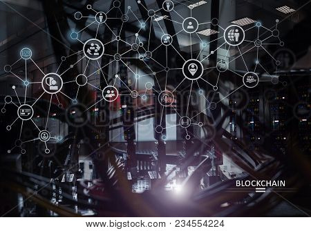 Global Blockchain Cryptocurrency Digital Encryption Network Concept Against A Mining Rack With Gpu
