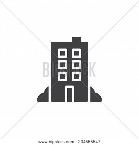 Hotel Building Vector Icon. Filled Flat Sign For Mobile Concept And Web Design. Office Building Simp