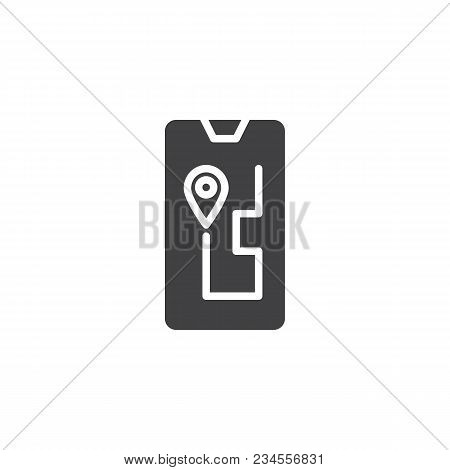 Navigation Device Vector Icon. Filled Flat Sign For Mobile Concept And Web Design. Route On A Gps Na