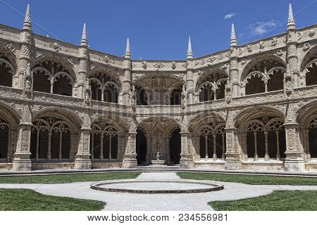 Cloister Of Mosteiro Dos Jeronimos (hieronymites Monastery) Without People In Summer Day With Bright