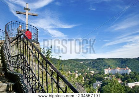 Karlovy Vary, Czech Republic - Sept 6, 2014: Historical Center In Spa Town Karlovy Vary, West Bohemi