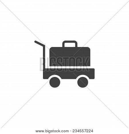 Baggage Trolley Cart Vector Icon. Filled Flat Sign For Mobile Concept And Web Design. Trolley With S