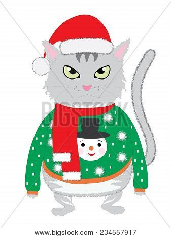The Isolated Hand-drawn Cute Cat Wearing A Silly Green Winter Sweater With A Snowman And Red Cap