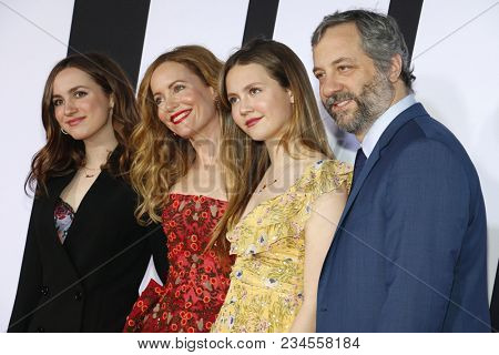 Judd Apatow, Leslie Mann, Maude Apatow and Iris Apatow at the Los Angeles premiere of 'Blockers' held at the Regency Village Theatre in Westwood, USA on April 3, 2018.