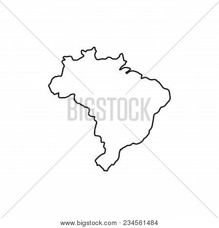 Brasil Map Icon. Outline Brasil Map Vector Icon For Web Design Isolated On White Background