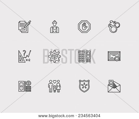 Court Icons Set. Contract And Court Icons With Business, Handcuff, Police. Set Of Person For Web App