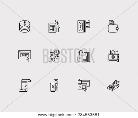 Money Payment Icons Set. Mobile Payment And Money Payment Icons With Online Payment, Cryptocurrency