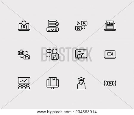 Online Education Icons Set. Education E-learning And Online Education Icons With Development Trainin