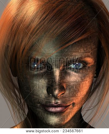 Technology Woman with Earth Eye. 3D rendering