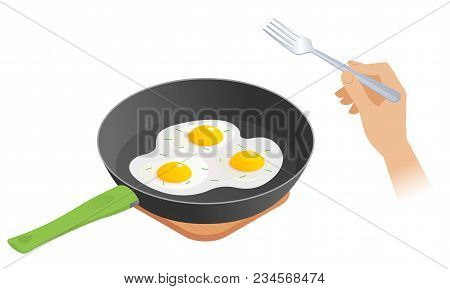 Flat Isometric Illustration Of Cooking Pan With Scrambled Eggs, Hand With Fork. The Morning Eating O