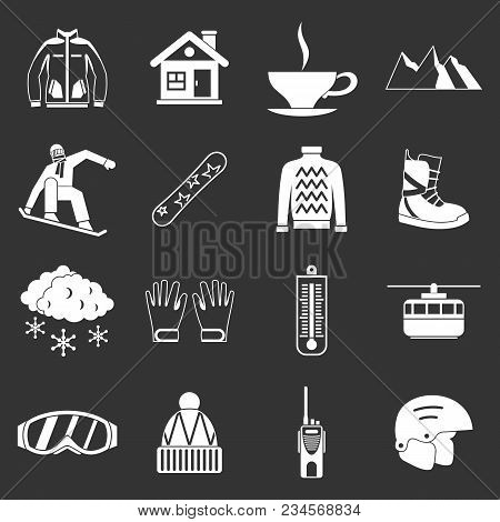 Snowboarding Icons Set Vector White Isolated On Grey Background