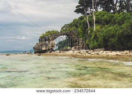 Neil Island At Andaman And Nicobar Archipelago, Natural Stone Bridge On The Sea Coast, India. Natura