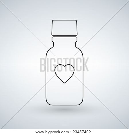 Linear Pill Bottle Icon With Heart. Modern Pill Bottle For Pills Or Capsules. Flat Style Vector Illu