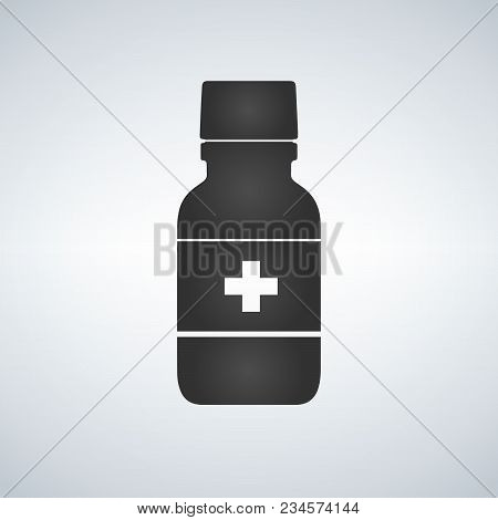Pill Bottle Icon With Medical Cross. Modern Pill Bottle For Pills Or Capsules. Flat Style Vector Ill