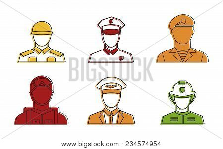 Military Avatar Icon Set. Color Outline Set Of Military Avatar Vector Icons For Web Design Isolated