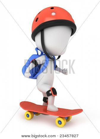 3D Illustration of a Kid Skateboarding