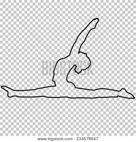 Outline Figure Woman Doing Stretching Legs, Split On Transparent Background, Silhouette Girl Engaged