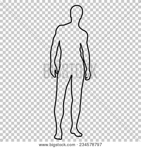 Outline Figure Naked Man Full-length With A Beautiful Sports Figure, Contour Portrait Male Muscular