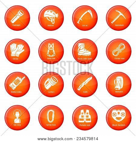 Speleology Equipment Icons Set Vector Red Circle Isolated On White Background
