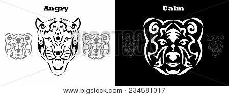 Tribal Bear And Gepard Set Illustration, Brown Bear With Gepard In Tribal Style, Ornamental White Li