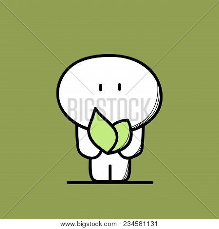 Cute Man And Green Plant, Sprout Or Leaves In The Hands. Nature And Spring, Ecology And Environment