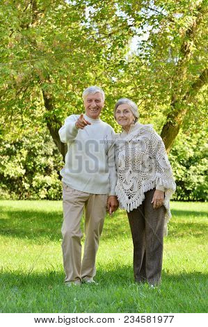 Portrait Of Beautiful Caucasian Senior Couple Walking  In Park. Man Pointing With Finger