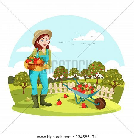 Woman Agrarian Gathering Garden Apples Or Picking Pears. Female Farmer Or Gardener Standing Near Whe
