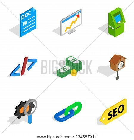 Business Interactive Icons Set. Isometric Set Of 9 Business Interactive Vector Icons For Web Isolate