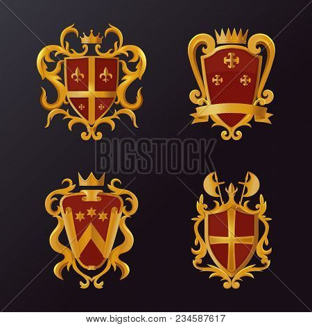 Set Of Isolated Heraldic Shields With Ribbon And Crown, Halberd Or Swiss Voulge, Stars And Crest. Vi