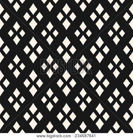 Black And White Argyle Pattern. Vector Geometric Texture With Rhombuses. Diamonds Seamless Pattern.