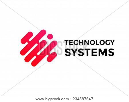 Technology Logo Simple Tech Design. Vector Creative Abstract Circle Round Red Flow Shape Modern Icon