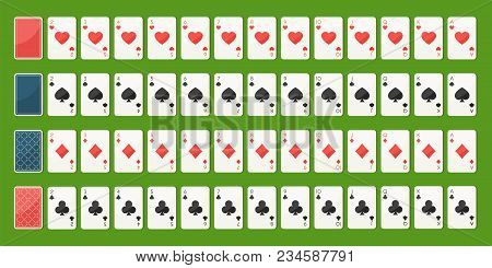Set Poker Playing Cards, Full Deck. Playing Cards Face And Back Side. Gambling Games Concept. Vector
