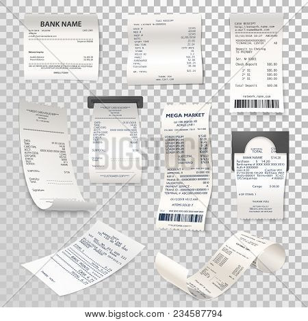 Set Of Isolated Paper Checks On Transparent. Printed Cash Dispenser Payment Bill Or Supermarket, Sho