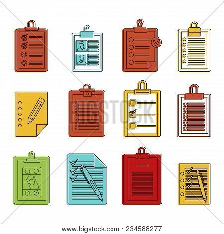 To Do List Icon Set. Color Outline Set Of To Do List Vector Icons For Web Design Isolated On White B