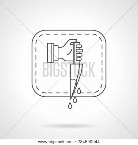 Symbol Of Hand With Knife With Blood Splash In Frame. Thriller Movie, Film Genres Concept. Flat Blac