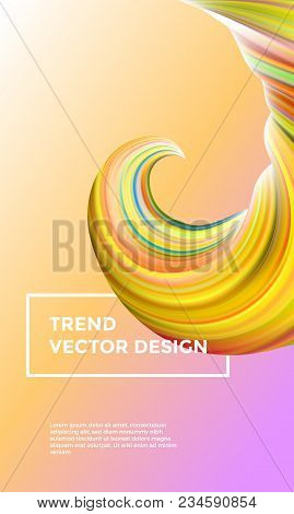 Orange Vector Digital Painting Abstract Background. Creative Vivid 3d Flow Paint Wave. Trendy Yellow