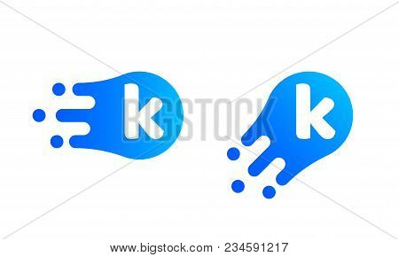 Letter K Logo Template Of Abstract Liquid Bubble Shape For Modern Company. Vector Creative Z Logo In