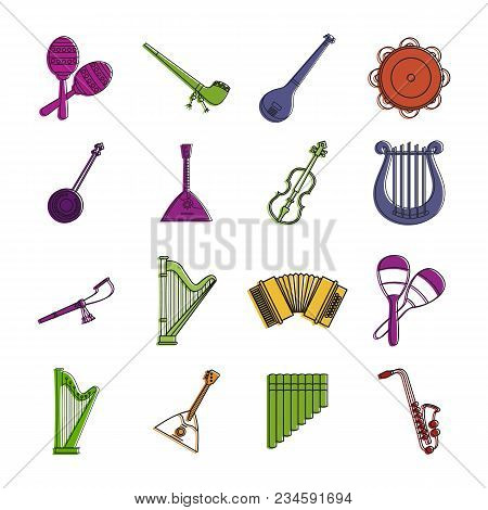 Musical Instrument Icon Set. Color Outline Set Of Musical Instrument Vector Icons For Web Design Iso